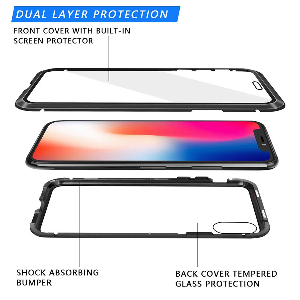 Image 4 - Luxury Magnetic case for iPhone XR metal glass case for iphone x/xs max/6/6s/7/8 plus bumper alumilum 360 full protection 50pcs-in Fitted Cases from Cellphones & Telecommunications