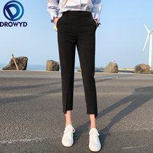 Черные узкие брюки для женщин модные элегантные офиса летние
