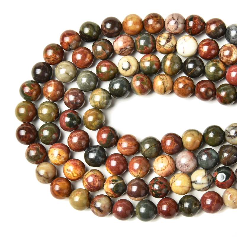 Factory Price Natural Picasso Jasper Round Loose Beads 15