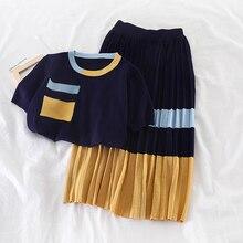 Mooirue Autumn Skirts Sets Women Patchwork Kintting Pockets Shirts High Waist Elastic Pleated Loose Vintge Streetwear Set