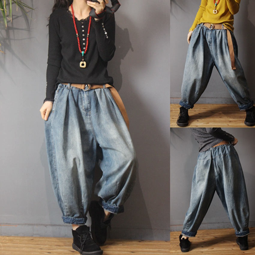Women Baggy Harem Drapes Color-Block Pants Vinatge Washed Denim Loose Large Size Casual Harem Jeans Pants