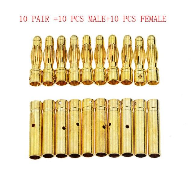 10 คู่ 4mm GOLD Plated Bullet กล้วยปลั๊กคุณภาพสูงชายหญิง Bullet กล้วยชุดปลั๊กแบตเตอรี่