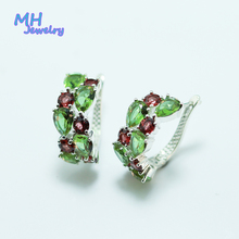 MH Zultanite Gemstone natural red garnte Earring for Women gift 925 Sterling Silver Color Change Diaspore Stone Fine Jewelry