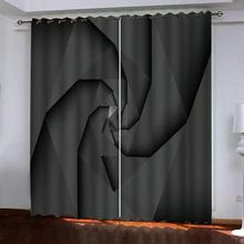 Popular modern minimalist bedroom living room black and white curtains Thickened blackout 3d