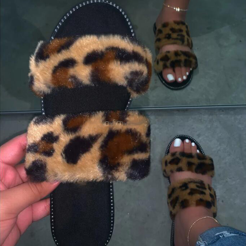 Leopard Fur Slippers Home Wild Hair Slippers Pink Warm Sandals Female 2020 New Streetwear Flip Flop Flat With Interior Slippers