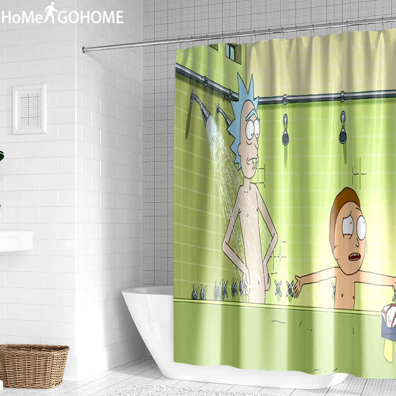 Funny Shower Curtains Waterproof Rick And Morty Bathroom Curtain Cartoon 3D SET