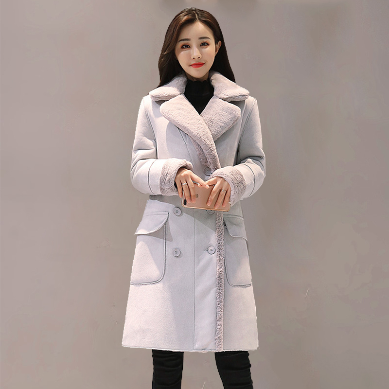 Fashion Suede 2018 Autumn Winter Feminine Coat Pink Grey Elegant Long Manteau Femme Korean New Suit Collar Sleeve Outwear