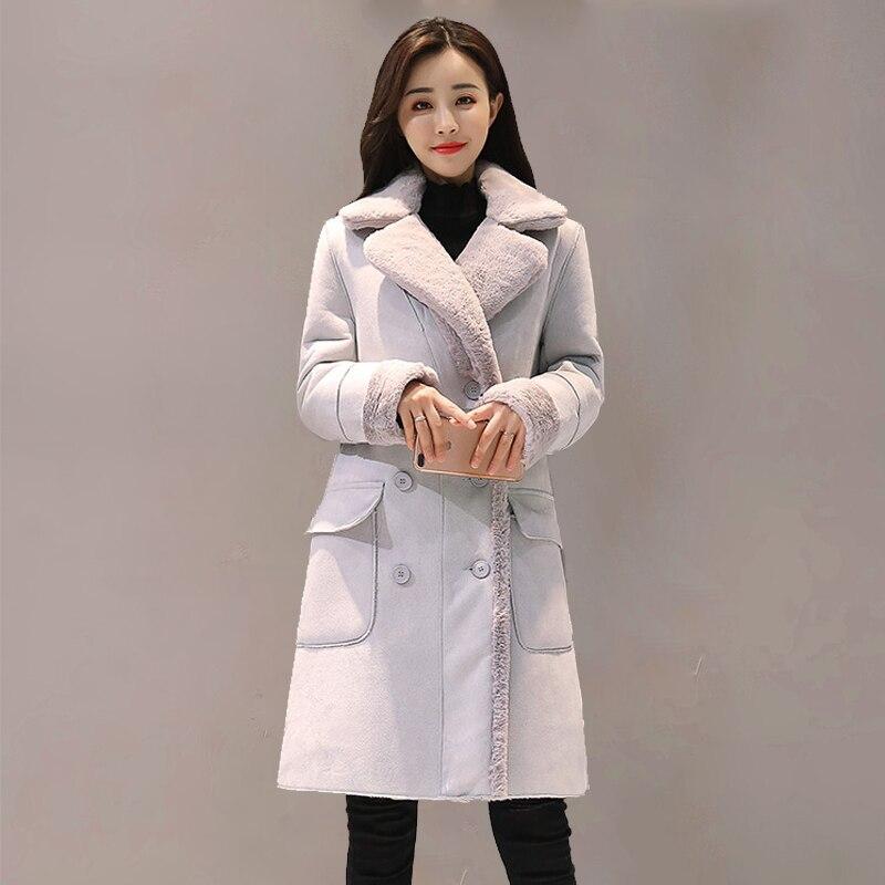 Mode daim 2018 automne hiver féminin Manteau rose gris élégant Long Manteau Femme coréen nouveau costume col à manches longues Outwear