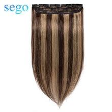 """SEGO 1""""-24"""" клип в одном куске настоящие человеческие волосы для наращивания 1 p/w 5 клипов не Реми кусок прямые индийские волосы 40 г-60 г"""