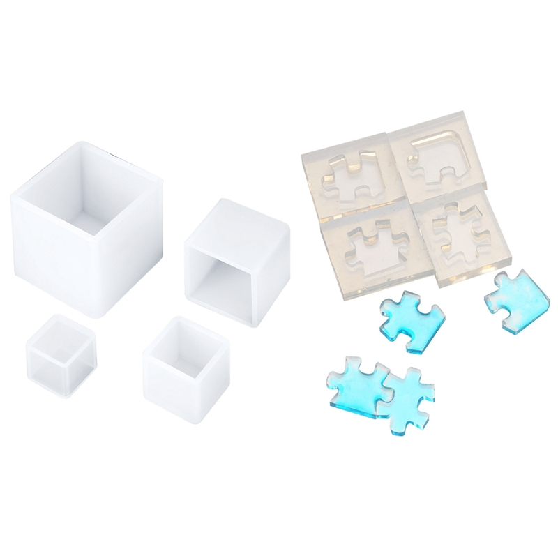 4 Pieces Square Resin Mold Square Silicone Molds Resin Casting Molds 4 Sizes & 4Pcs/Set Puzzle Gemstone Crystal Mold Silicone Mo