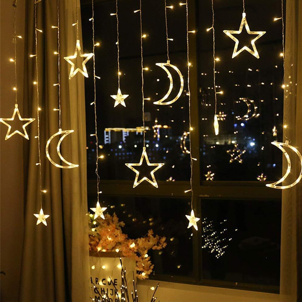 3.5M Led Moon Star Lamp Christmas Garland String Lights Fairy Curtain Light For Christmas Wedding Patio Window Party Decoration