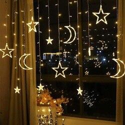 3.5M led Moon Star Lamp Kerst Guirlande String lights Fairy Gordijn licht Voor Kerst Wedding patio venster Party Decoratie