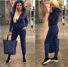 Winter Womens Sets Tracksuit Knitted Suit for Women Sweater Set Pant  2 Piece Hooded ZOGAA