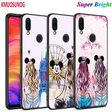 Black Silicone Cover Cute Girlfriend BFF for Xiaomi Redmi Note 9 8 8T 7 6 5 4X 4 K20 Pro 7A 6A 6 S2 5A Plus Phone Case original liquid silicone phone case for xiaomi redmi k20 8a 7a 5a 4x s2 5 plus soft back cover for redmi note 4x 8 7 6 5 pro