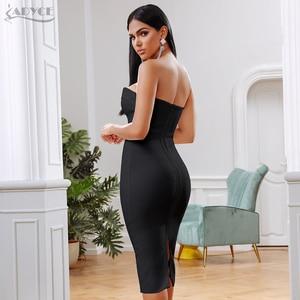 Image 3 - Adyce夏白包帯ドレス女性vestidos 2020 セクシーなノースリーブストラップレスクラブドレス有名人のイブニング滑走路パーティードレス