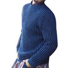 Мода мужчины однотонный цвет O шея длинный рукав зима пуловер свитер трикотаж