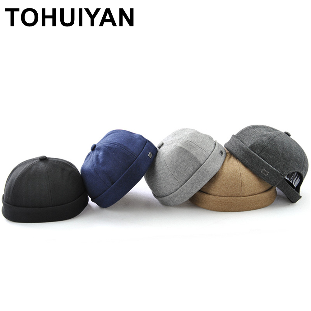 TOHUIYAN Spring Mens Hat Skull Cap Women Beanie Hat Winter Short Brimless Bonnet Chapeau Femme Unisex Hip Hop Hats Adjustable