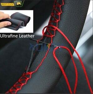 Image 1 - Ультратонкие чехлы из волокнистой кожи для ручного шитья, для рулевого колеса, для Ford Focus 2 3 Kia Benz Smart Nissan