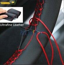 Najdrobniejsze włókno skórzane do naszycia DIY osłona na kierownicę do samochodu pokrowce na kierownicę do Ford Focus 2 3 Kia Benz Smart Nissan