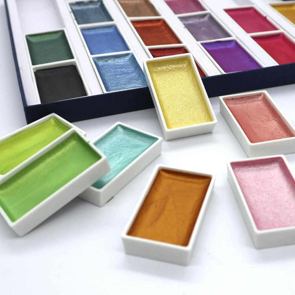 Image 3 - SeamiArt 24Color Semi Dry Glitter Metallic Watercolor Paint Gift Box Set Artist Watercolor Pearl Pigment for Drawing SuppliesWater Color   -