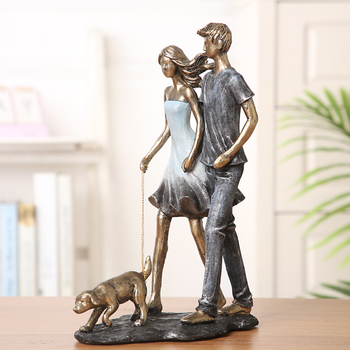 Couple Walking With Dog Handmade Resin Statue 1