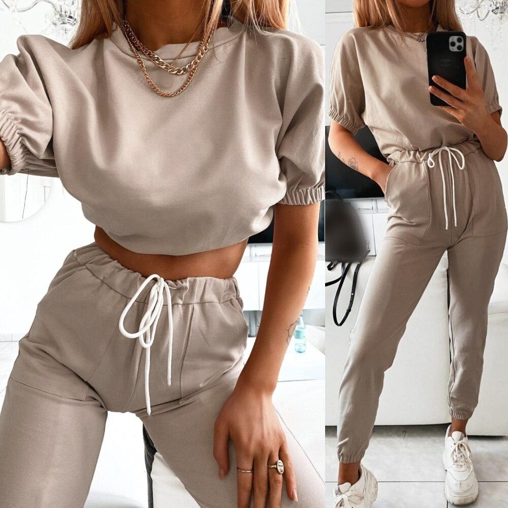 Women Summer Casual Pants Set T Shirt+Harem Pants Suit Female 2 Piece Outfits Streetwear Tracksuit Women Two Piece Set Sweatsuit