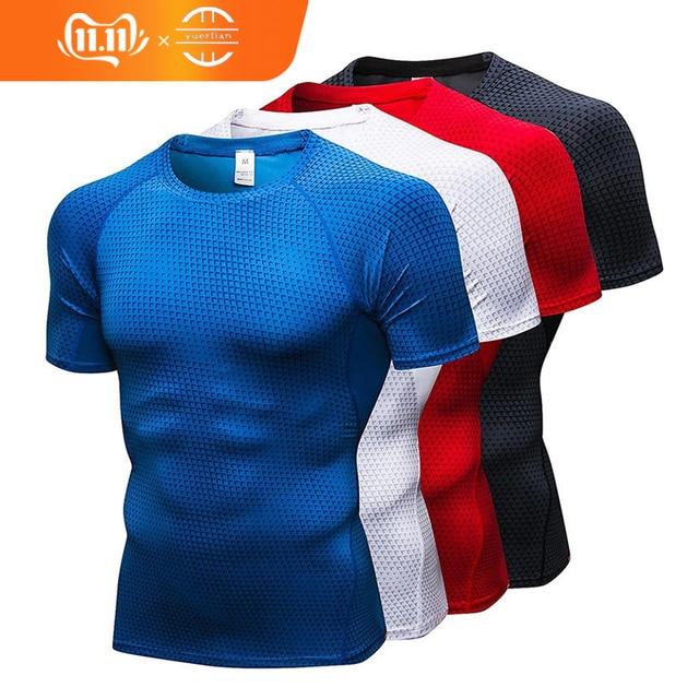 hot logo Custom Rashgard gym tshirt Running shirt Basketball Football Jerssey Quick Dry sport shirt men Jogging fitness shirt