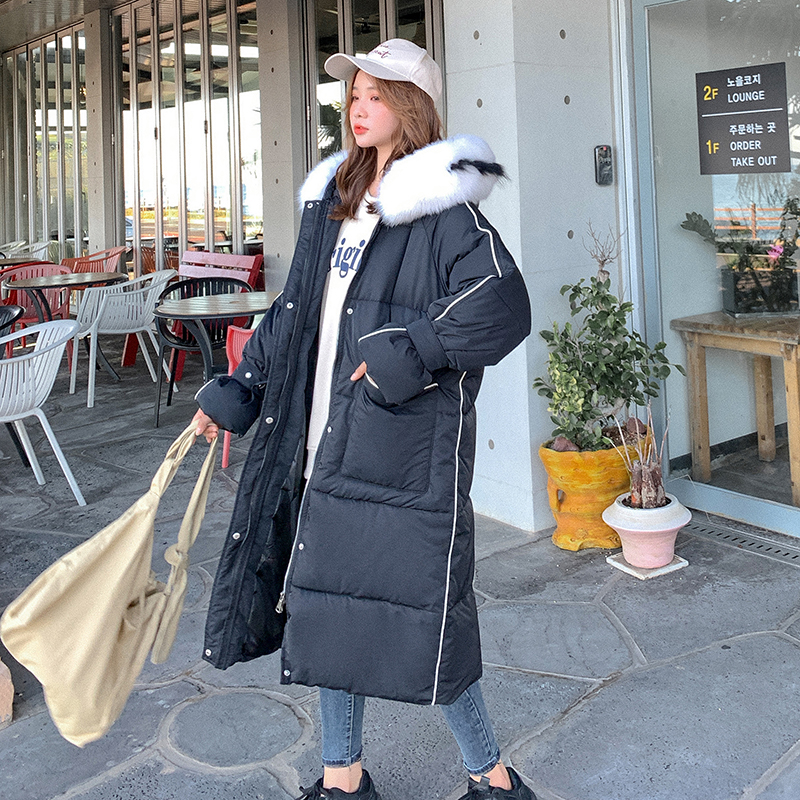 Image 3 - Han edition heavy hair led to film the new female long down jacket cap loose cotton coat of long big yardsParkas   -