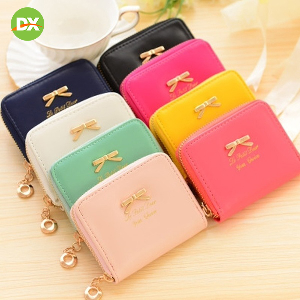 Zipper Coin Purse Women 39 s Bow Knot Decoration Wallet Female Portable Leather Decoration Home Travel Storage organizer Bag Gift in Storage Bags from Home amp Garden