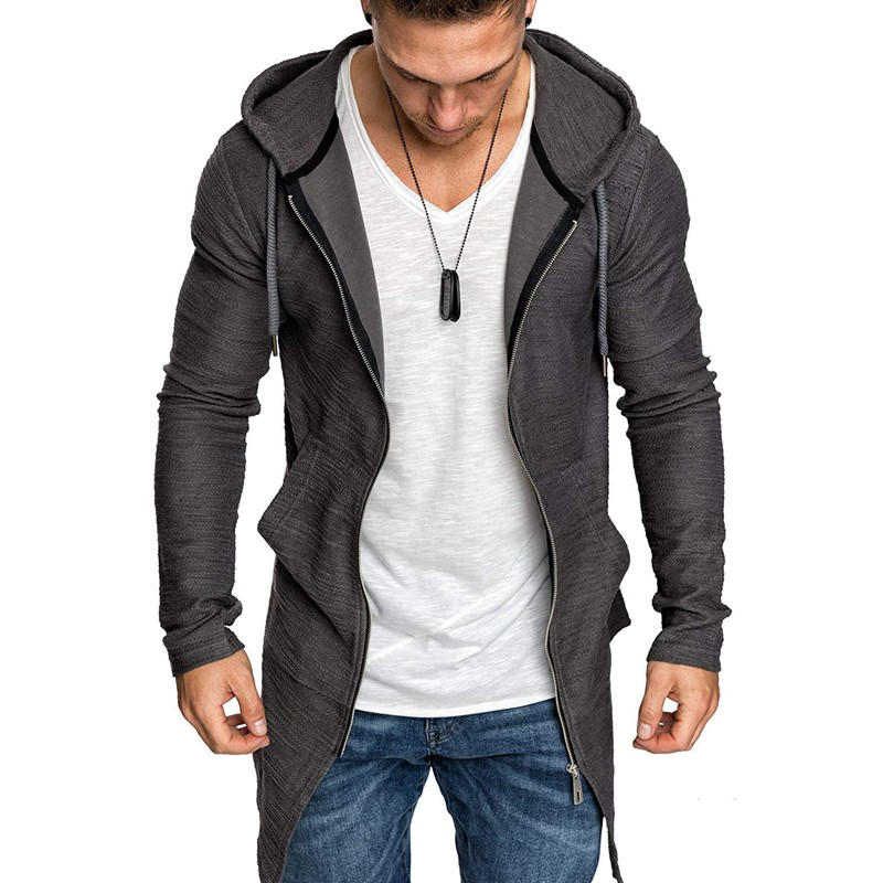 Dropshipping 2019 New Arrive Zipper Hoodies Men Long Jacket Men Slim Fit Hooded Trench Coat Men High Streetwear Mens Hoodies