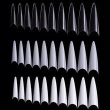 600 pièces Naturel blanc clair bout pointu étroit Long Style français faux ongles conseils fantôme griffe acrylique faux doigt conseils manucure ensemble