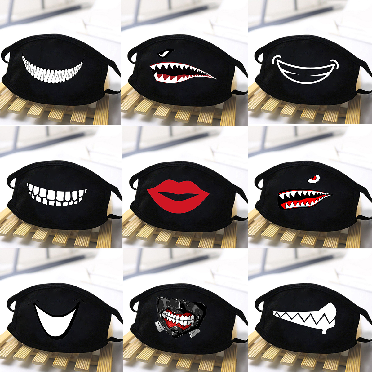 Uniex Cartoon Cute Print Masks Red Mouth Mask Anti-bacterial Dust Winter Mouth Mask Anti Haze Washable Reusable Dustproof Mask