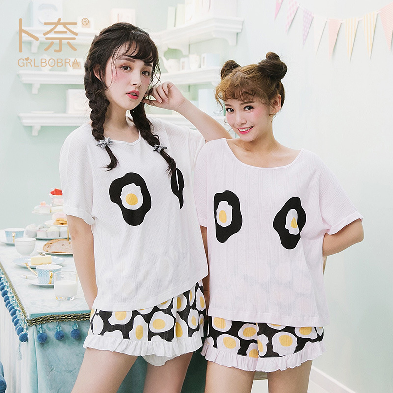 Cross Border For Summer Fried Egg Printed Cotton Crew Neck Two-Piece Pajamas Japanese-style Women's Loose-Fit Home Wear