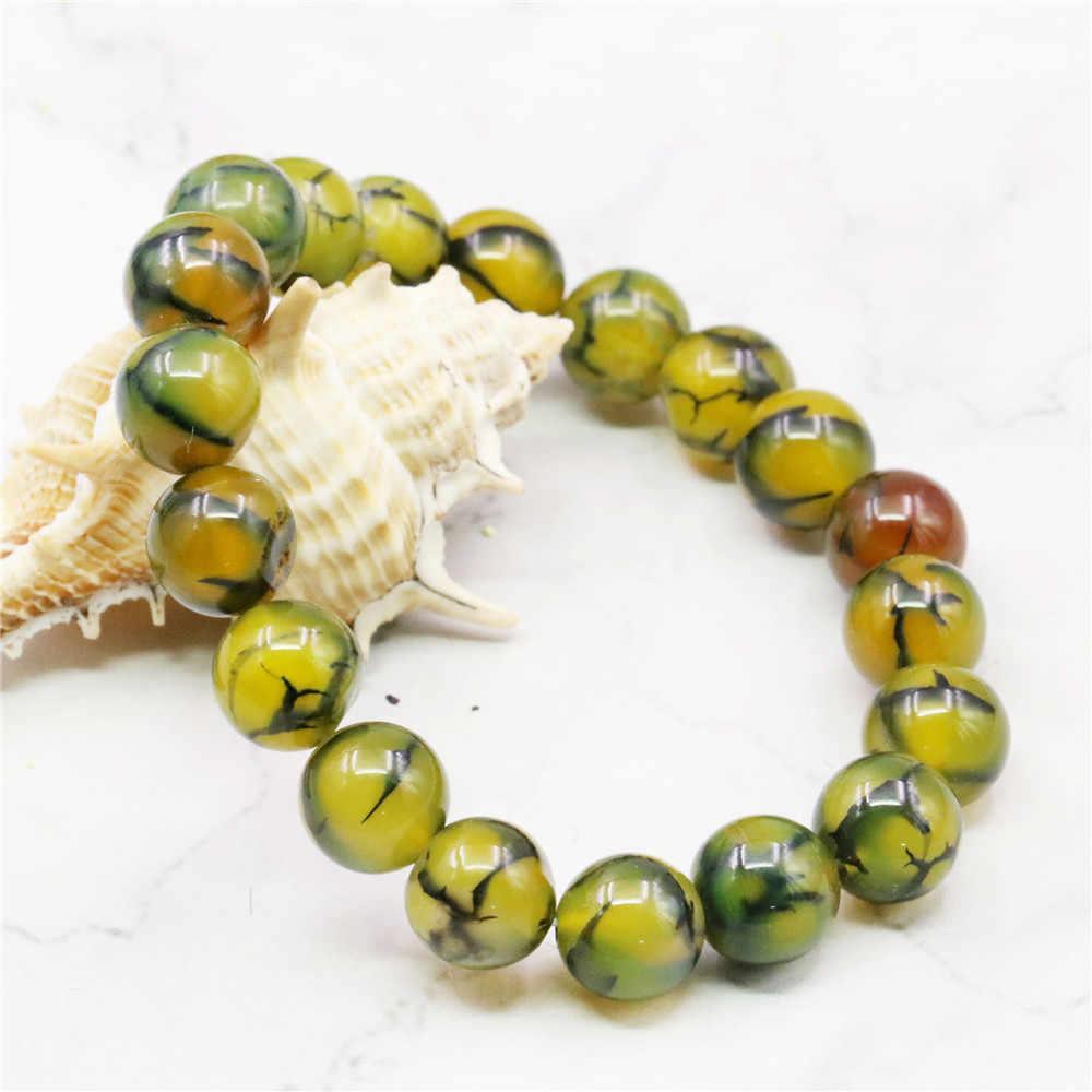Gorący nowy nowy modny styl diy 10mm smok żyły Onyx bransoletka koraliki na bransoletkę biżuteria z kamienia naturalnego 7.5 ''MY5339 cena hurtowa