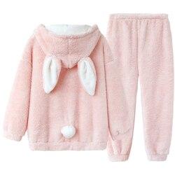 Ensemble pyjama en peluche rose pour femmes, vêtements de nuit chauds, mignon, lapin Lolita, Kawaii, ensemble haut + pantalon, rose