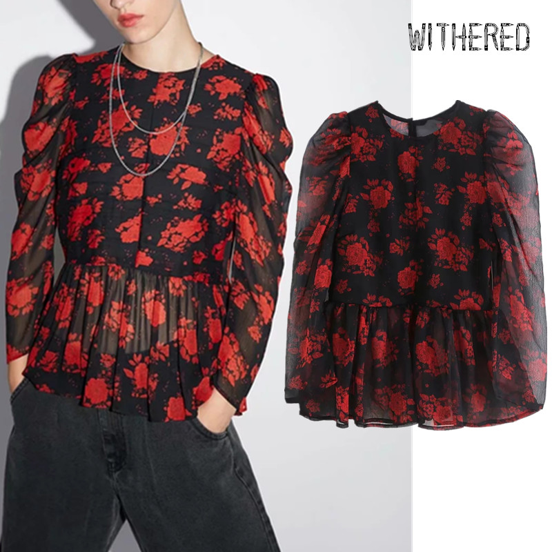 Withered England Autumn Floral Print Vintage Puff Sleeve Shirt Women Blusas Mujer De Moda 2019 Shirt Womens Tops And Tshirt