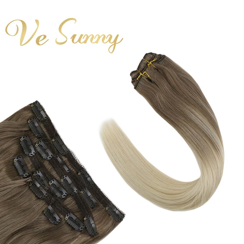 VeSunny Clip In Hair Extensions 100% Real Human Hair 7pcs Clip On Extensions Balayage Ombre Light Brown Mix Blonde #14/60 120gr