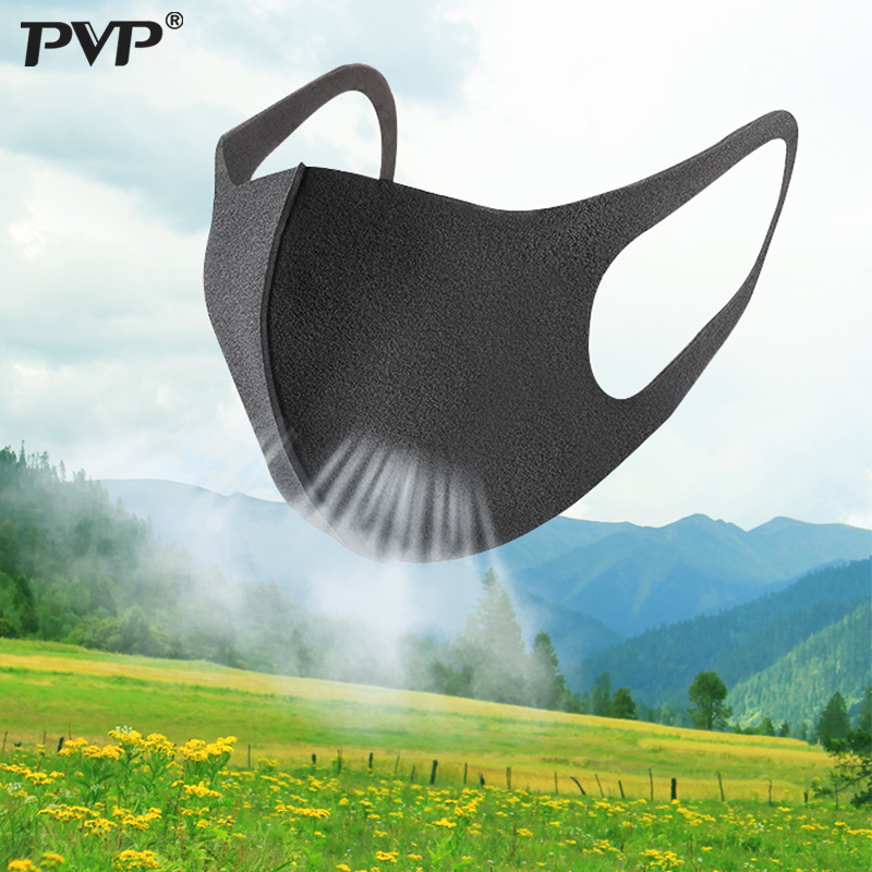 PVP 3 Pcs Black Mouth Mask Breathable Unisex Sponge Face Mask Reusable Anti Pollution Face Shield Wind Proof Mouth Cover