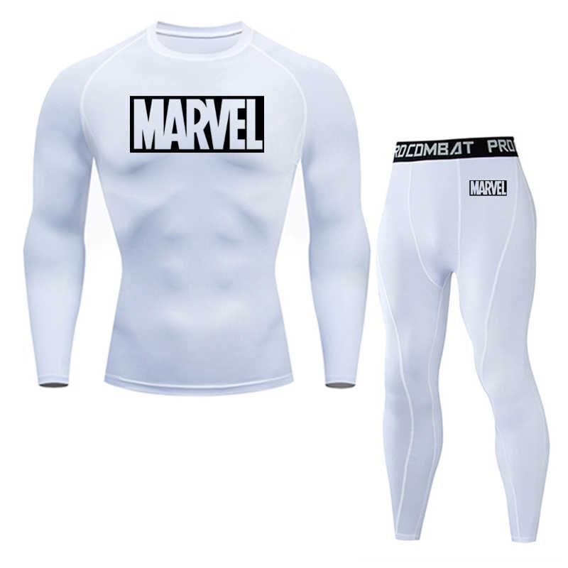 2019 mannen thermisch ondergoed set MMA rashgard tactiek leggings Effen kleur fitness mannen compressie set kleding Merken mannen