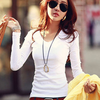 Long Sleeve Womens Tops 2019 Women Korean Style T-Shirt Cotton New Solid color white Tshirt