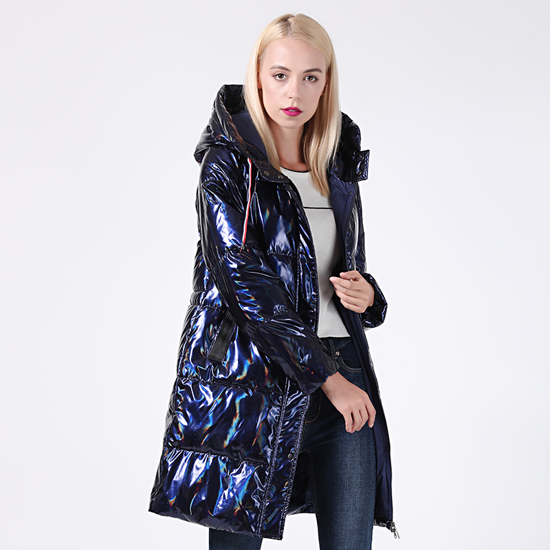 2019 Winter Jacket Women Silver Holographic Glitter Plus Size Hooded Long Women's Winter Coat Hooded Thick Down Jackets Parka