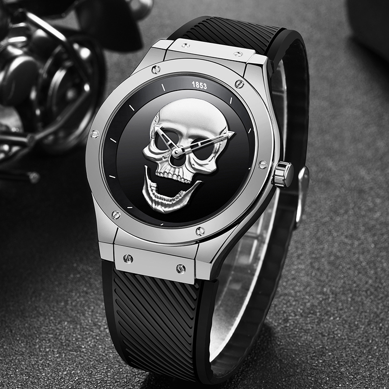Relogio Masculino LIGE Creative 3D Skull Watches Mens Top Brand Luxury Silicone Strap Waterproof Mens Watch Leisure Sport Clock