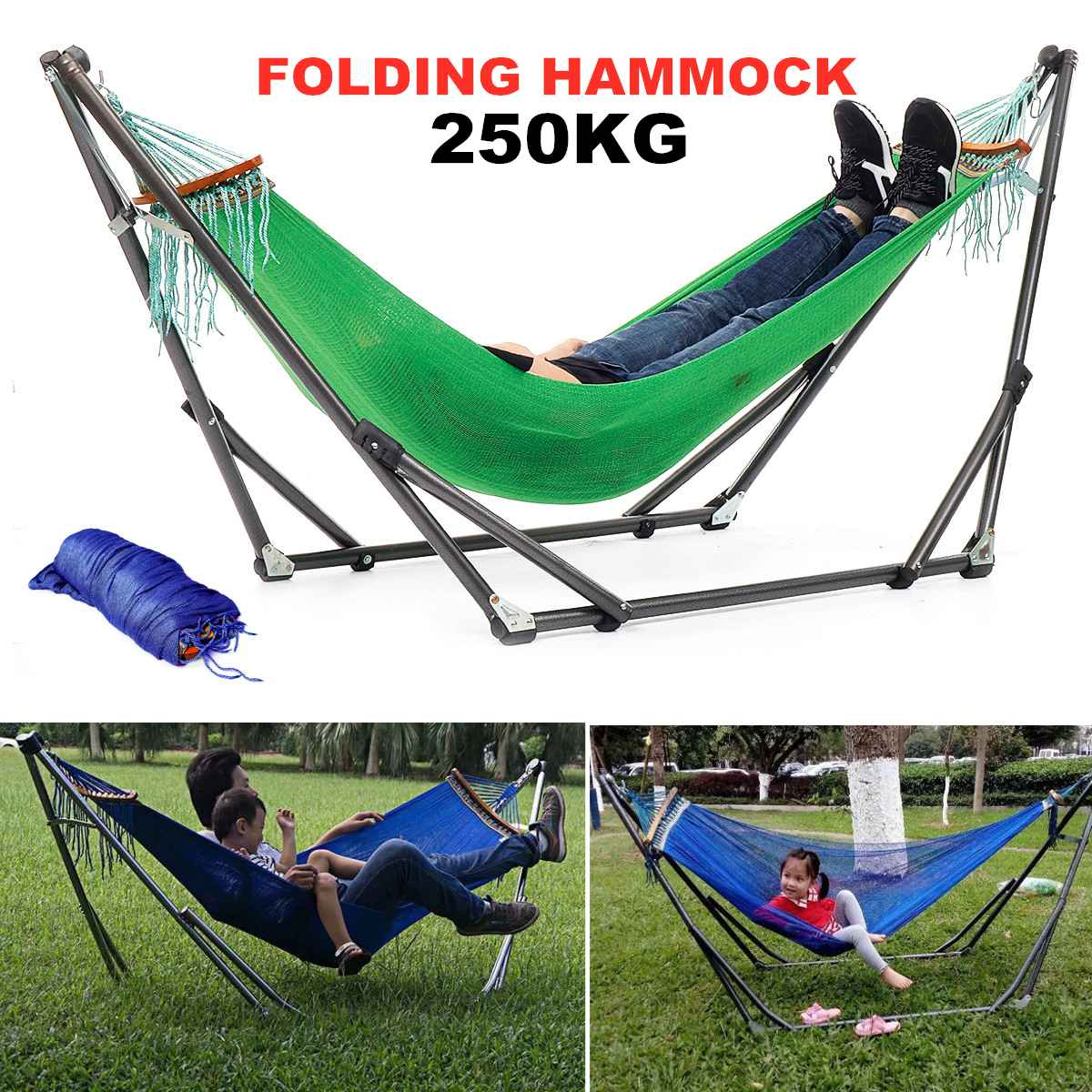 250KG Portable Folding Steel Pipe Sleeping Swing Hammock Stand Bag Kit Set Garden Outdoor Furniture Hunting Camping Accessories
