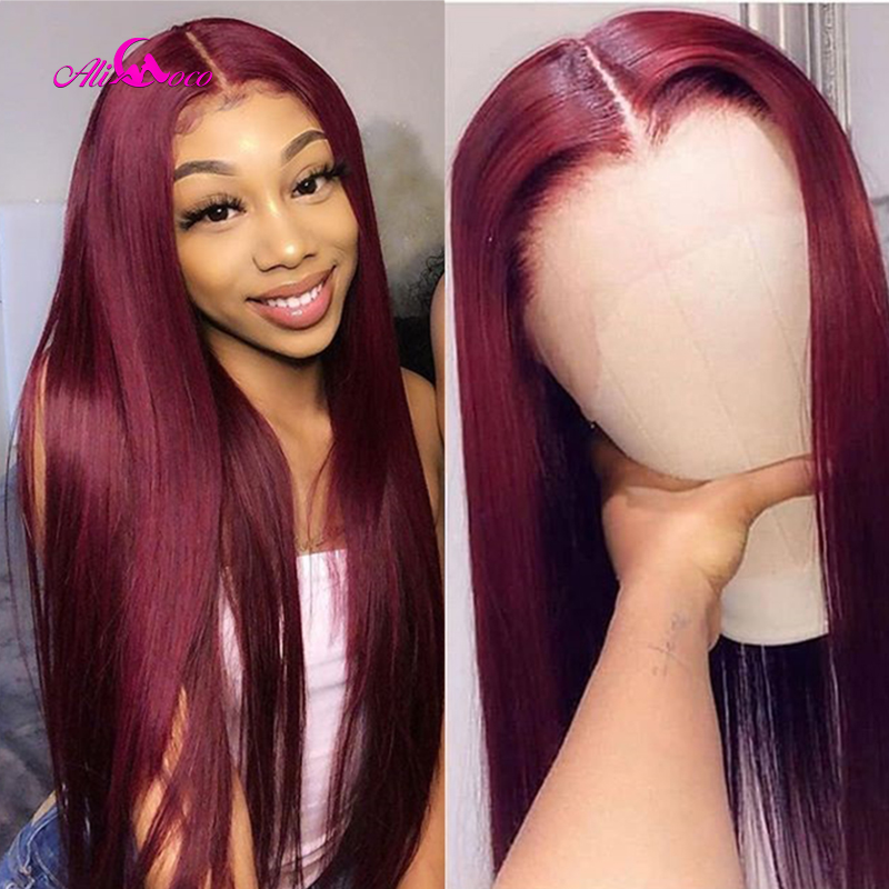 Ali Coco 26 28 30 Inch Brazilian Straight Human Hair Wigs 13x4 Natural Color/ #99 /1B99J/ 1B30 Remy Hair 150% Lace Frontal Wigs