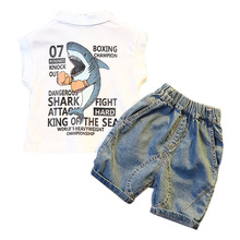 Summer Kids Sets Boys Girls Clothes Shark Print Tops+Denim Shorts 2 Pcs Suits Toddler Cotton Comfortable