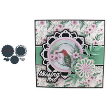 Circle Flower Shape Frame MISSING U Words Metal Cutting Dies Scrapbooking Album Paper DIY Cards Crafts Embossing New 2019