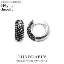 Черные креольские Висячие серьги-кольца, винтажные модные ювелирные украшения Томаса для женщин и мужчин, зима Ts подарок в 925 пробы серебре