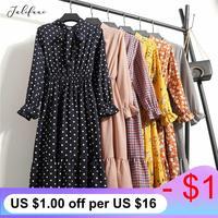 Женское повседневное осеннее платье в Корейском стиле, винтажное шифоновое платье-рубашка с цветочным принтом, зимнее платье миди с длинны...
