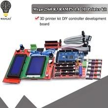 Mega 2560 r3 ch340 + 1 pces rampas 1.4 controlador + 5 pces a4988/drv8825 stepper driver módulo + 1 pces 12864 controlador para kit de impressora 3d
