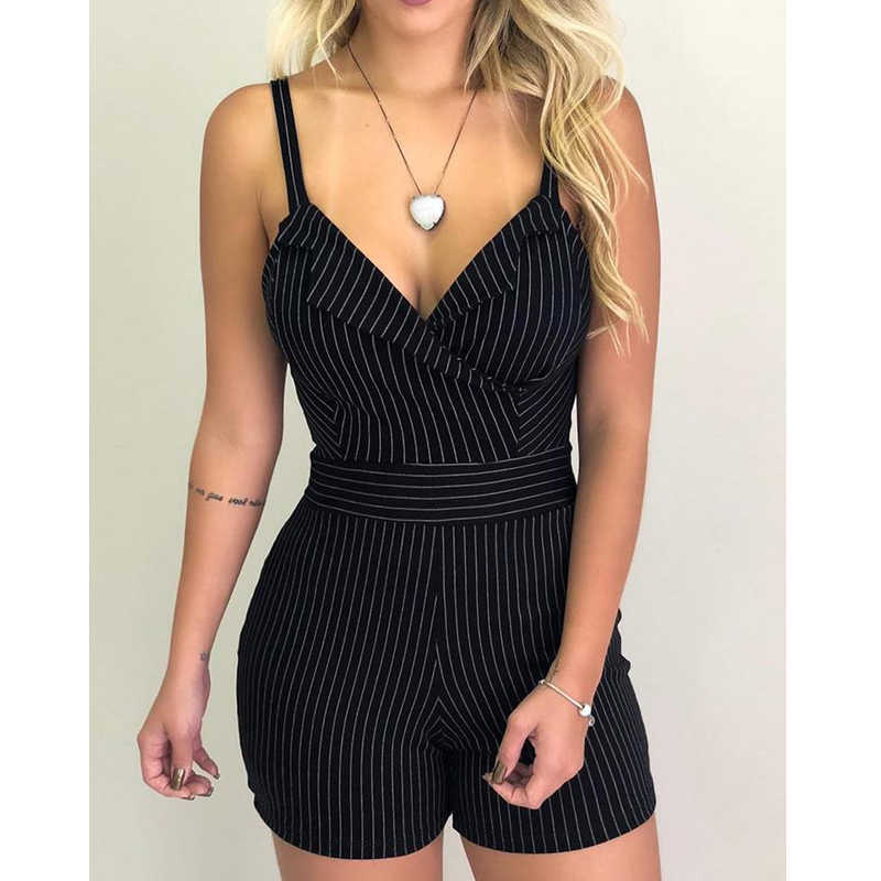 1PC Fashion Female Striped Playsuit Sexy Women Casual Sleeveless Stripped Bodycon Jumpsuit Short Trousers Pants White Black